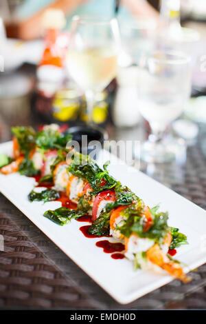 Japanese cuisine sushi rolls - Stock Photo