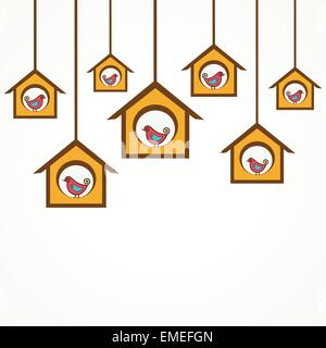 Collection of funny birds in feeders stock vector - Stock Photo