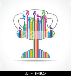 Colorful raised hand with education symbols in the winning cup stock vector - Stock Photo