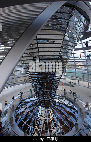 Germany, Berlin, Reichstag, glass dome, cupola, Norman Foster architect - Stock Photo