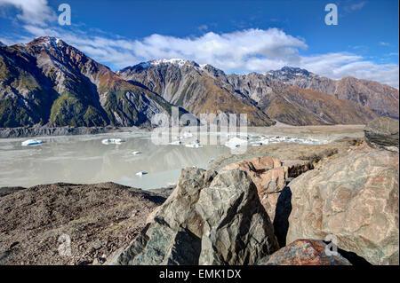 view of Tasman Glacier in the winter time - Stock Photo