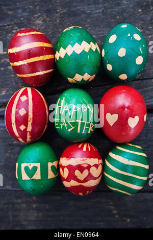 Easter card, colored eggs with ornament Happy Easter - Stock Photo