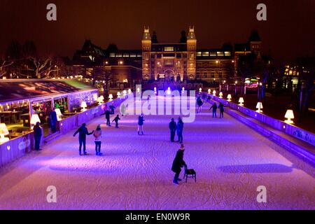 skating rink in front of the Rijksmuseum - Stock Photo