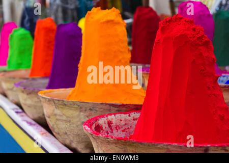 Piles of colorful powdered dyes used for holi festival. An India - Stock Photo