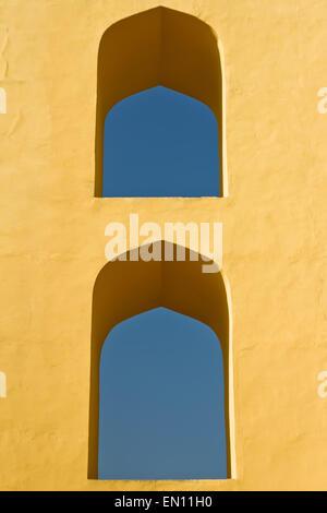Windows of Jantar Mantar observatory. Jaipur, Rajasthan, India - Stock Photo