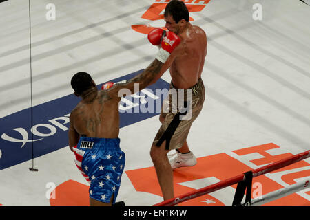 New York, New York, USA. 25th Apr, 2015. IAGO KILADZE (brown trunks) and RAFORD JOHNSON battle in a cruiserweight - Stock Photo