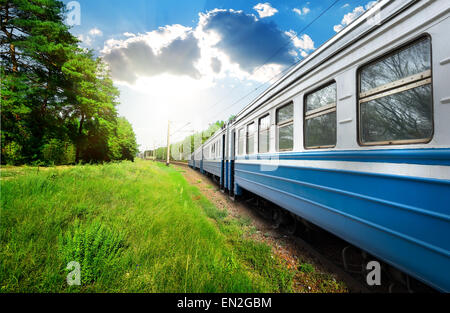 Train wagon and pine forest at sunny day - Stock Photo