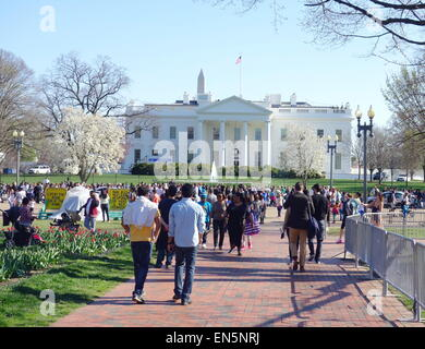 Crowd of tourists in front of the White House in Washington DC - Stock Photo