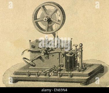 Morse System. Morse telegraph reciever. Engraving 19th century. - Stock Photo