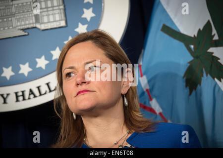 Manhattan, New York, USA. 28th Apr, 2015. City Council Speaker MELISSA MARK-VIVERITO speaks at a press conference - Stock Photo