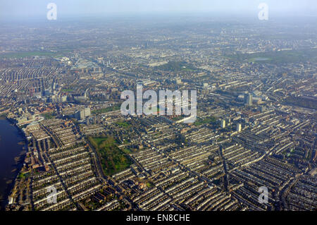 An aerial view of West London taken from an aircraft approaching to land at Heathrow Airport. - Stock Photo