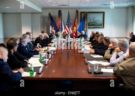 President Barack Obama meets with senior military leadership at the Pentagon in Arlington, Virginia, Oct. 8, 2014. - Stock Photo
