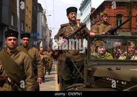 Ostrava, Chechen Republic. 30th Apr, 2015. Local residents participate in the events marking the 70th anniversary - Stock Photo