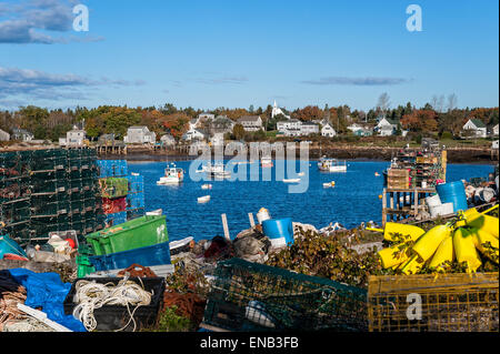 Lobster Traps Buoys and Fishing Boats at the Docks of New Harbor Stock Photo, Royalty Free Image ...