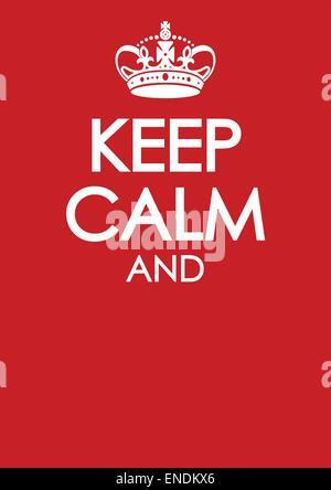Keep Calm Poster Similar Crown Imitation Stock Vector Art