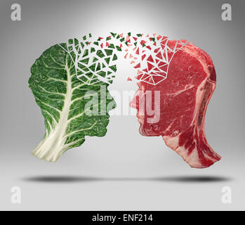 Food information and eating health balance exchange concept related to choices with a human head shape green vegetable - Stock Photo