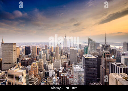 New York City, USA famous skyline over Manhattan. - Stock Photo