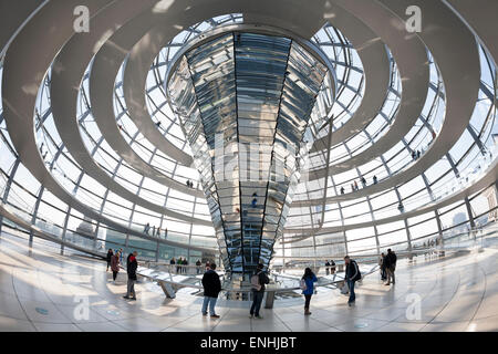 Interior of the cupola, designed by Sir Norman Foster, Reichstag German Parliament building Berlin, Germany - Stock Photo