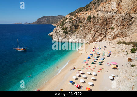 Kaputas beach, near Kalkan, Lycia, Antalya Province, Mediterranean Coast, Southwest Turkey, Anatolia, Turkey, Asia - Stock Photo