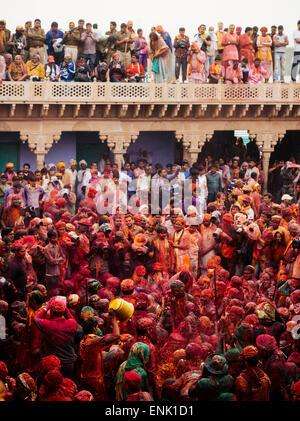 Lathmar Holi celebrations in Nand Rae Temple, Nandagaon, Braj, Uttar Pradesh, India, Asia - Stock Photo