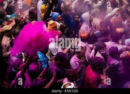 Lathmar Holi celebrations in Bankei Bihari Temple, Vrindavan, Braj, Uttar Pradesh, India, Asia - Stock Photo