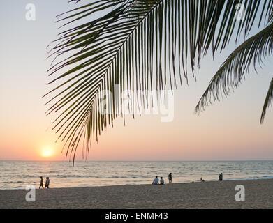Agonda beach in Goa South India at sunset - Stock Photo