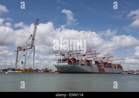 Container ship OOCL Singapore pictured in Southampton Docks Container Port - Stock Photo