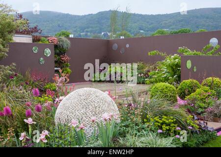 The walled garden in spring at rhs wisley surrey uk stock for Pip probert garden designer