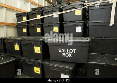 Ballot boxes being delivered to Sheldon Heath community centre ready for voting in the General Election - Stock Photo