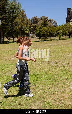 Two friends jogging along side each other across grass - Stock Photo