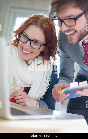 close up business people working laptop - Stock Photo