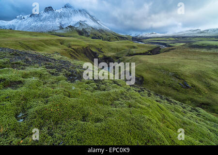 The mountains and rivers of Icelands central highlands take on an otherwordly feel after the countries first snowfall; - Stock Photo