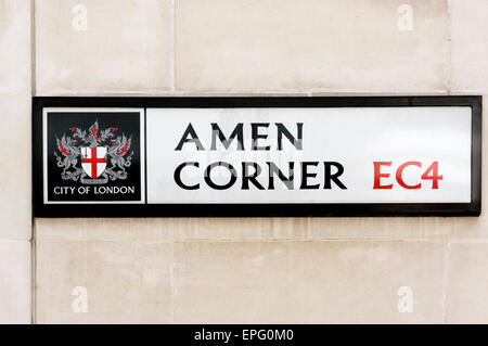 Sign for Amen Corner in the City of London. - Stock Photo