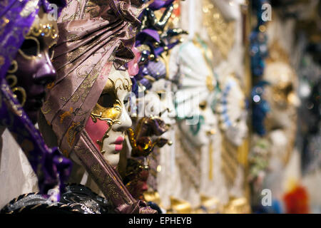 Venetian carnival masks in a Venice shop - Stock Photo