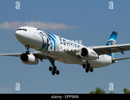Egyptair Airbus A330-300 widebody airliner on approach to London Heathrow - Stock Photo