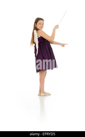Model isolated on plain background in studio - Stock Photo