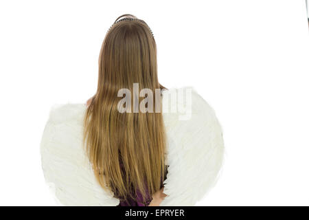 Model isolated on plain background in studio from behind - Stockfoto