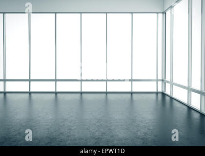 White empty office interior with large windows - Stock Photo