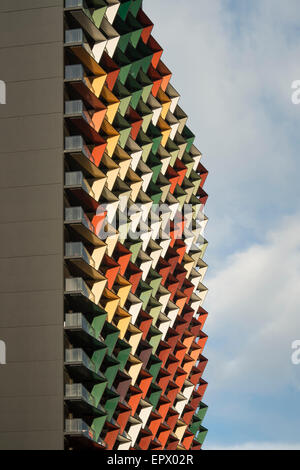 A'Beckett Tower detail, residential apartment building, Melbourne, Australia - Stock Photo