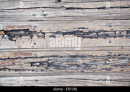 Weathered Beaten Wood Board Background Wooden Planks and Nails - Stockfoto