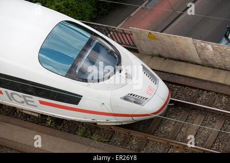 Europe, Germany, Cologne, high-speed train ICE in the town district Deutz.  Europa, Deutschland, Koeln, Hochgeschwindigkeitszug - Stock Photo