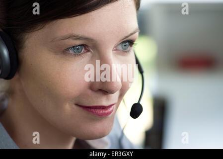 Telemarketer, portrait - Stockfoto