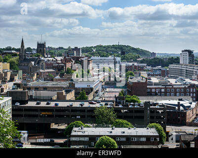 Nottingham skyline looking East, from the Castle. Showing the towns of Sneinton and Colwick in the distance. - Stock Photo