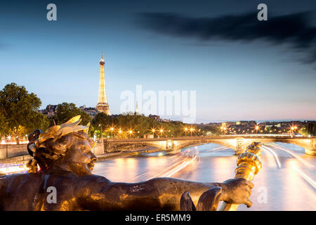 View from Pont Alexandre III over the River Seine, Eiffel Tower in the background, Paris, France, Europe, UNESCO - Stock Photo