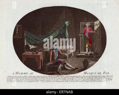 L'homme au masque de fer. Print shows a prisoner in chains and wearing an iron mask sitting on a bench in a prison - Stockfoto