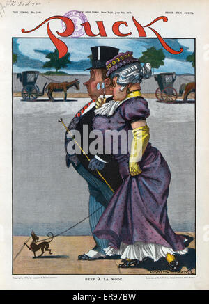 Beef a la mode. Illustration shows a high society couple walking their tiny dog, whom exhibits the same behavior - Stock Photo