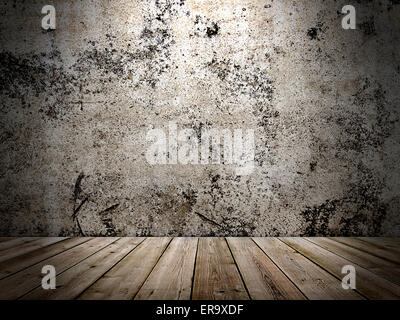concrete wall and wooden floor in a grunge style - Stock Photo