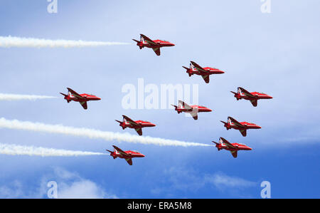 The RAF Red Arrows Display Team 2014, Cosford, Shropshire, England, Europe - Stock Photo