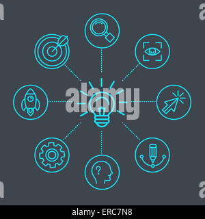 Innovation concept in linear style - light bulb and infgraphics design elements and icons - Stock Photo
