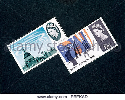 Battle of Britain stamps, commemorating events of Summer 1940. - Stock Photo